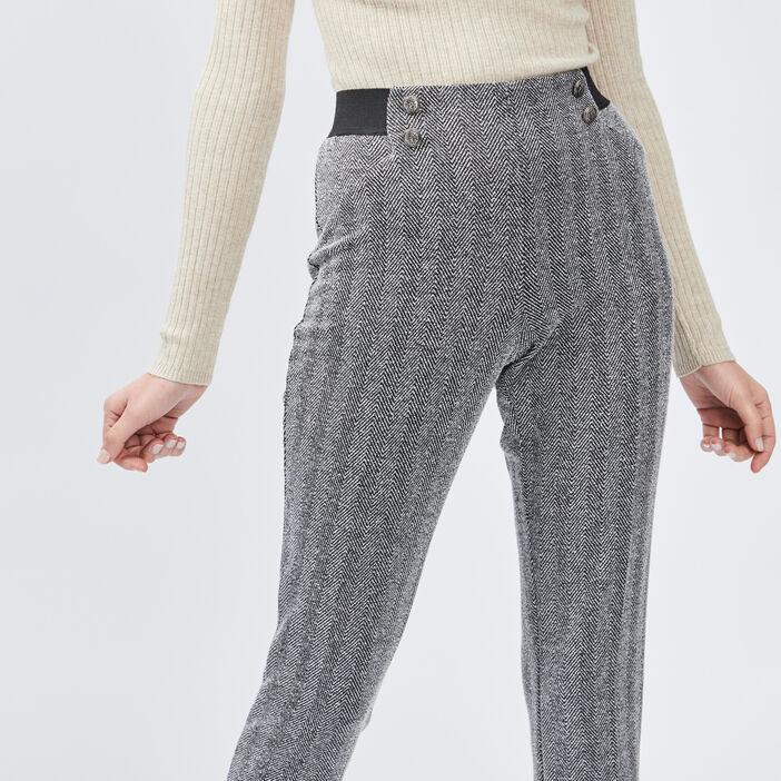 Pantalon droit taille haute femme gris foncé