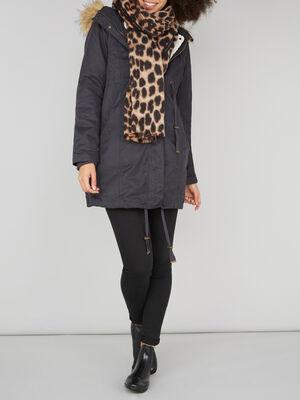 charpe a motif leopard marron mixte