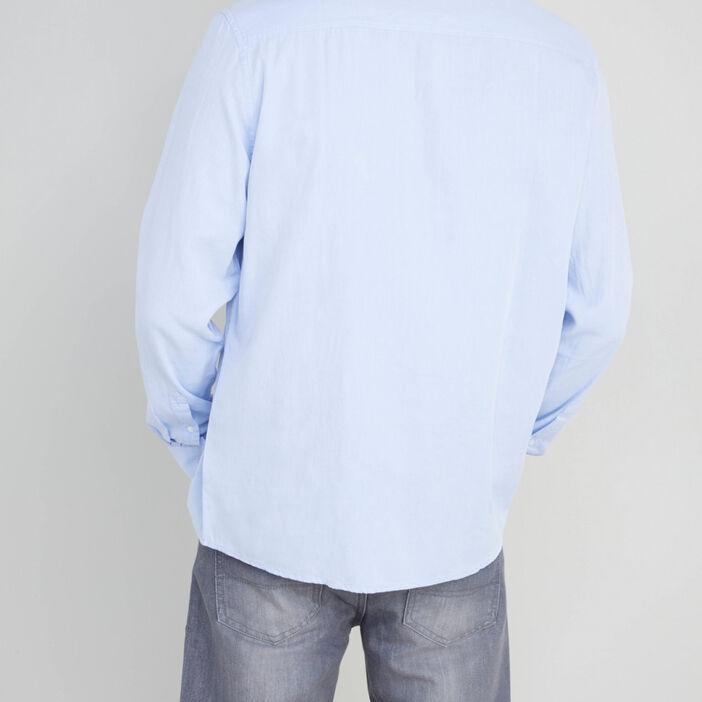 Chemise col classique en coton homme bleu ciel