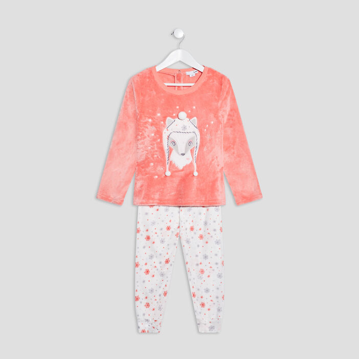 Ensemble pyjama 2 pièces fille orange corail