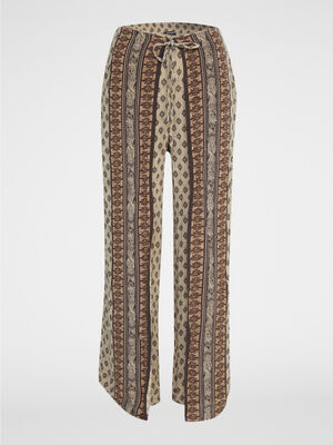 Pantalon fluide imprime ethnique vert kaki femme