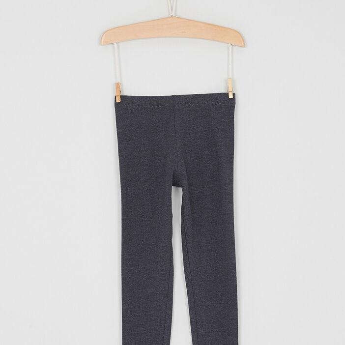 Legging coton majoritaire uni fille gris foncé