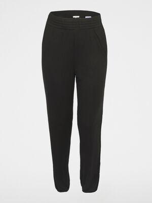 Pantalon uni taille extensible noir femme