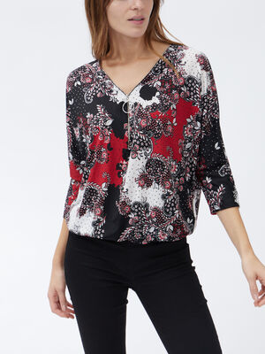 Blouse manches 34 rouge femme
