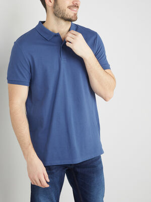 Polo en coton pique uni bleu homme