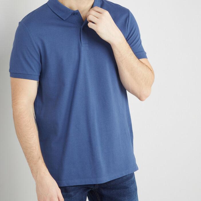 Polo en coton piqué uni homme bleu