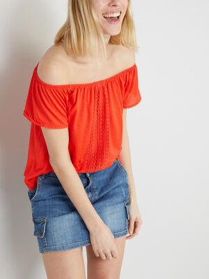 T shirt uni texture avec dentelle rouge femme