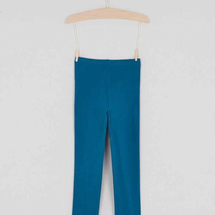 Legging coton majoritaire uni fille bleu canard