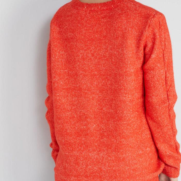 Pull torsades col V femme orange