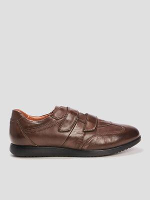Sneakers en cuir a scratchs marron homme