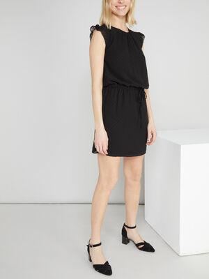 Robe avec manches courtes volantees noir femme