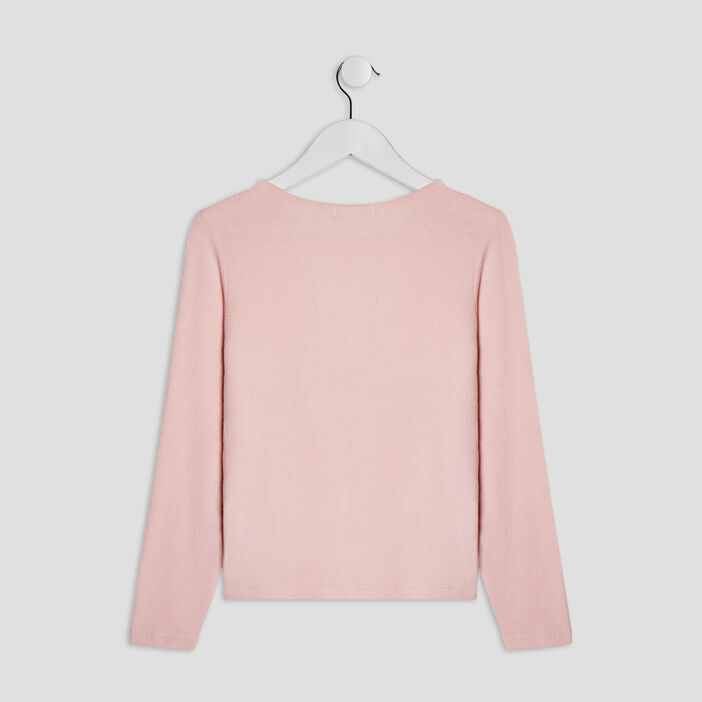 Pull avec col rond fille rose clair