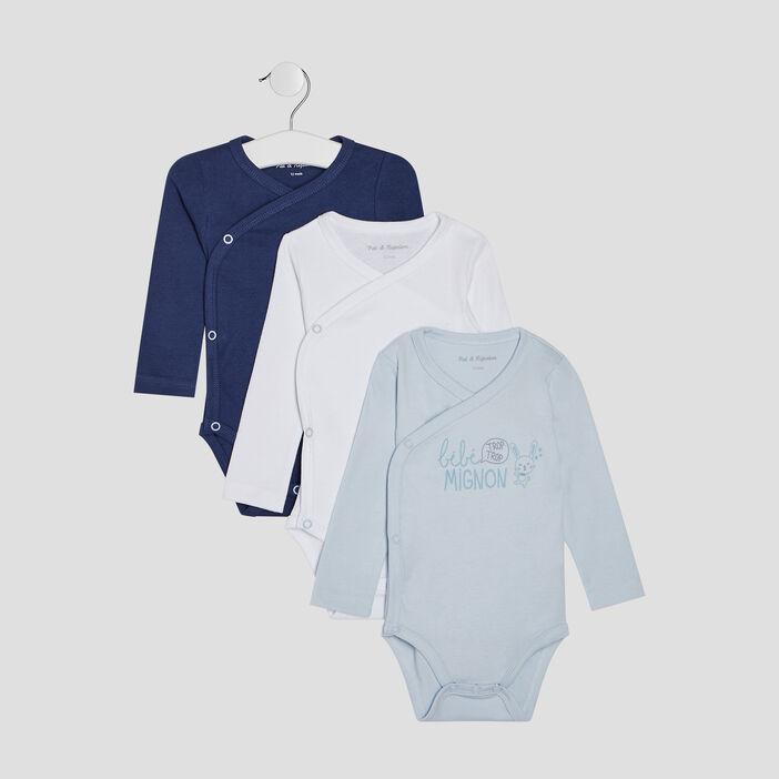 Lot de 3 body en coton bébé fille bleu