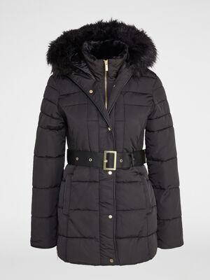 Doudoune zippee capuche bord fourre noir femme
