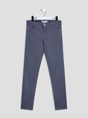 Pantalon droit satin de coton gris fonce fille