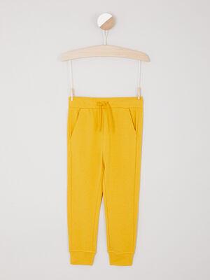 Jogging uni poches italiennes jaune moutarde garcon