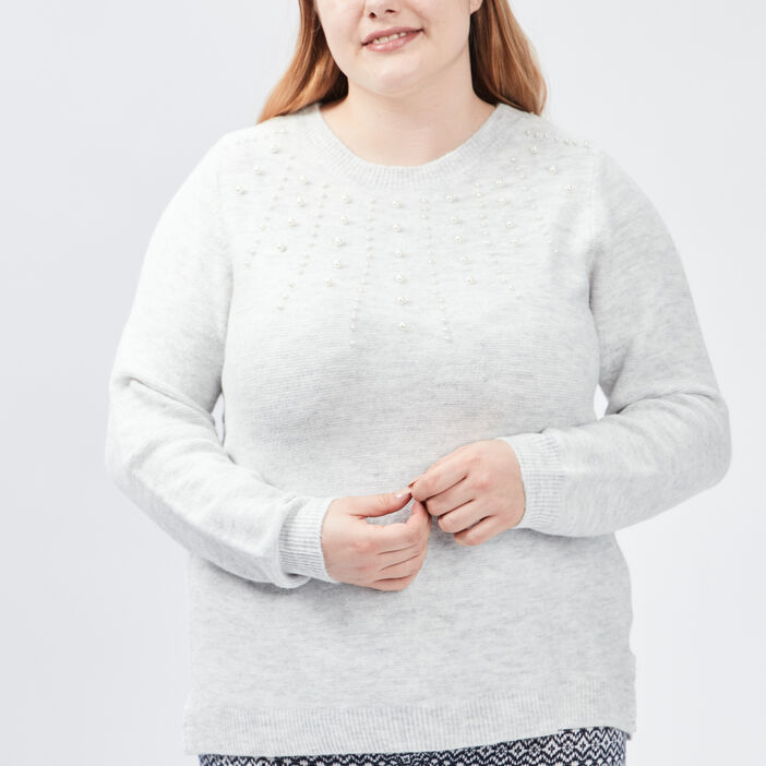 Pull avec perles grande taille femme grande taille gris clair