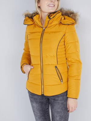 Doudoune zippee capuche fourrure synthet jaune moutarde femme