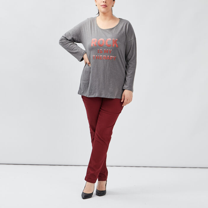 T-shirt manches longues femme grande taille gris fonce