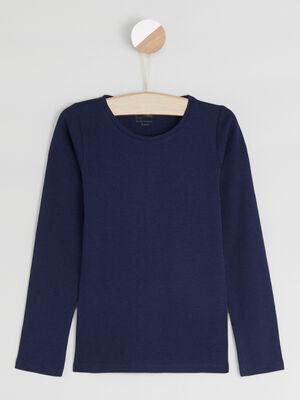 T shirt manches longues bleu marine fille