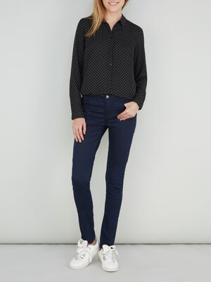Pantalon skinny uni bleu marine femme