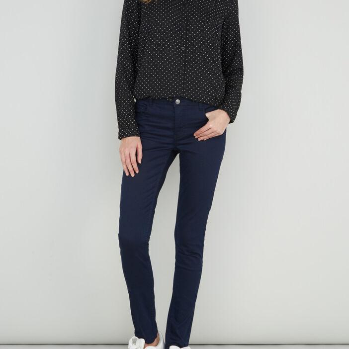 Pantalon skinny uni femme bleu marine