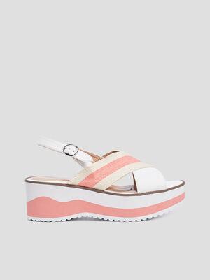 Sandales compensees crantees blanc femme
