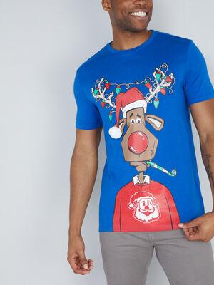 T shirt rennes Noel en coton bleu homme
