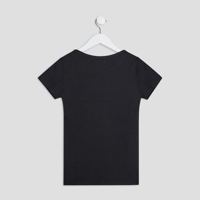T-shirt manches courtes côtelé fille noir