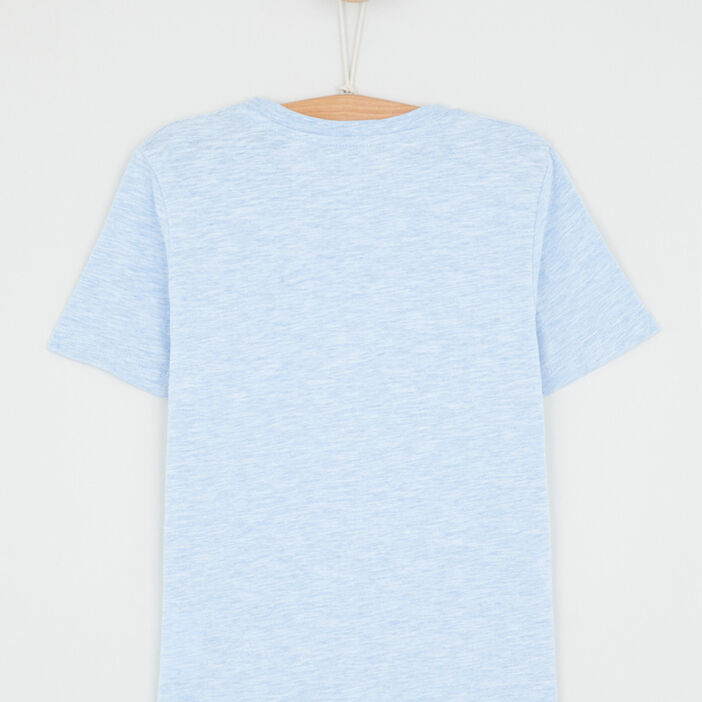 T-shirt chiné coton majoritaire garçon bleu
