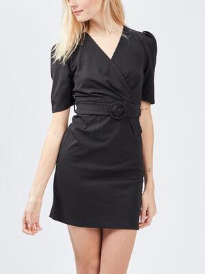 Robe droite ceinturee noir femme