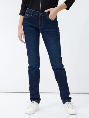 Jeans droit taille basse denim brut femme