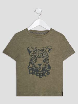 T shirt manches courtes Creeks vert kaki garcon