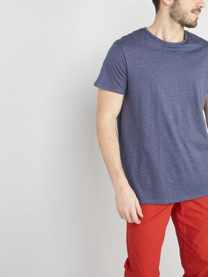 T shirt col rond coton uni bleu marine homme