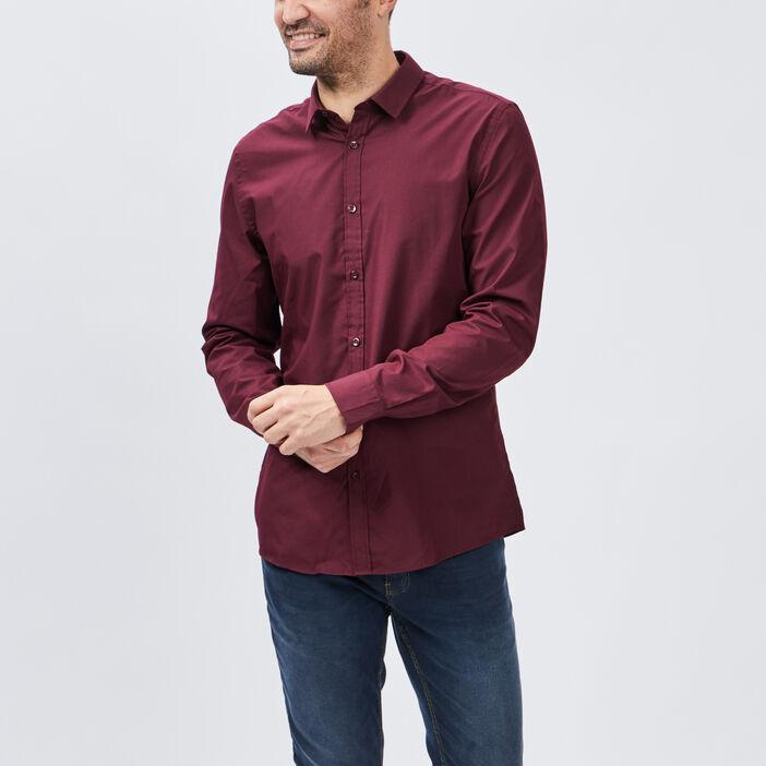 Chemise manches longues homme bordeaux