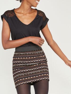T shirt bimatiere manches courtes noir femme