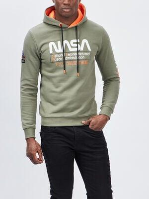 Sweat a capuche NASA vert kaki homme