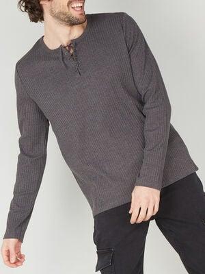 T shirt coton uni maille cotelee gris fonc homme
