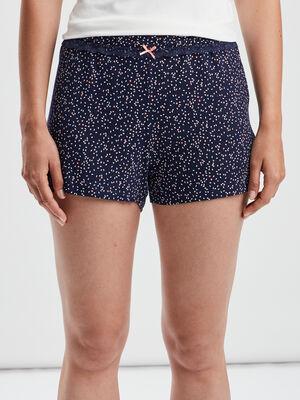 Bas de pyjama short bleu marine femme