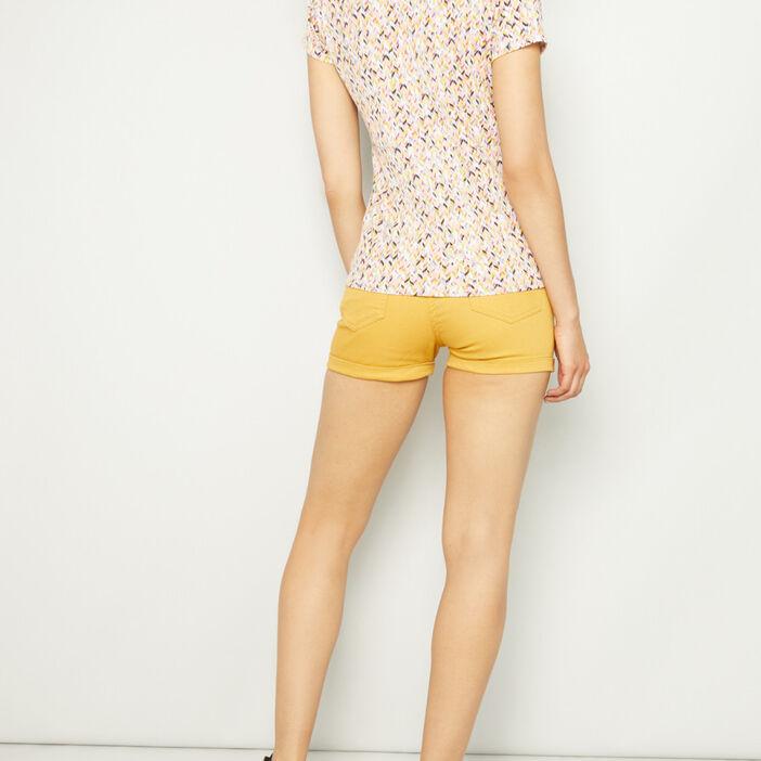 Short uni taille basse femme jaune moutarde