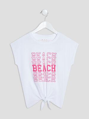 T shirt manches courtes blanc fille