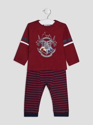 Pyjama 2 pieces Harry Potter bordeaux bebeg