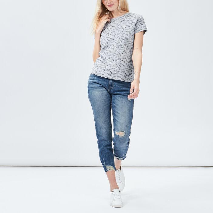 Jeans straight destroy Creeks femme denim dirty