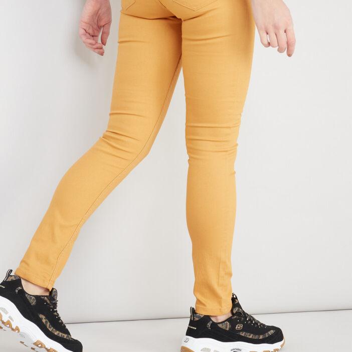 Pantalon skinny uni femme jaune moutarde