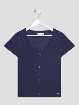 T shirt manches courtes bleu marine fille