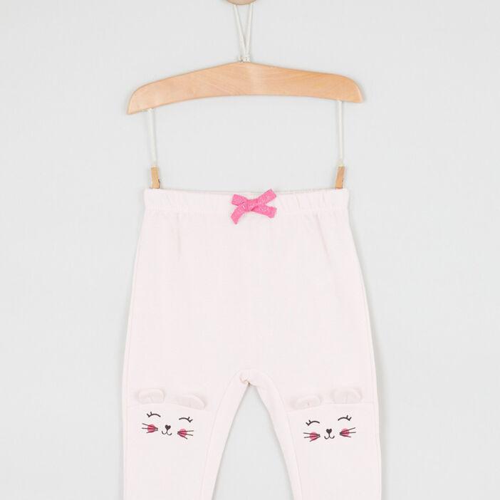 Pantalon broderies et détails 3D bébé fille rose clair
