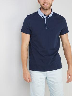 Polo col contrastant coton majoritaire bleu marine homme
