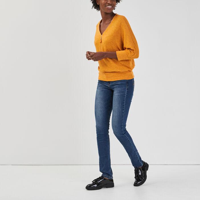 Pull avec col en V zippé femme jaune moutarde
