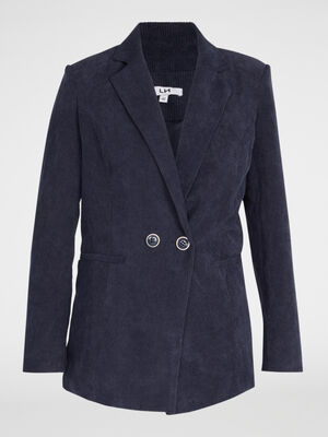 Veste en velours cotele uni bleu marine femme