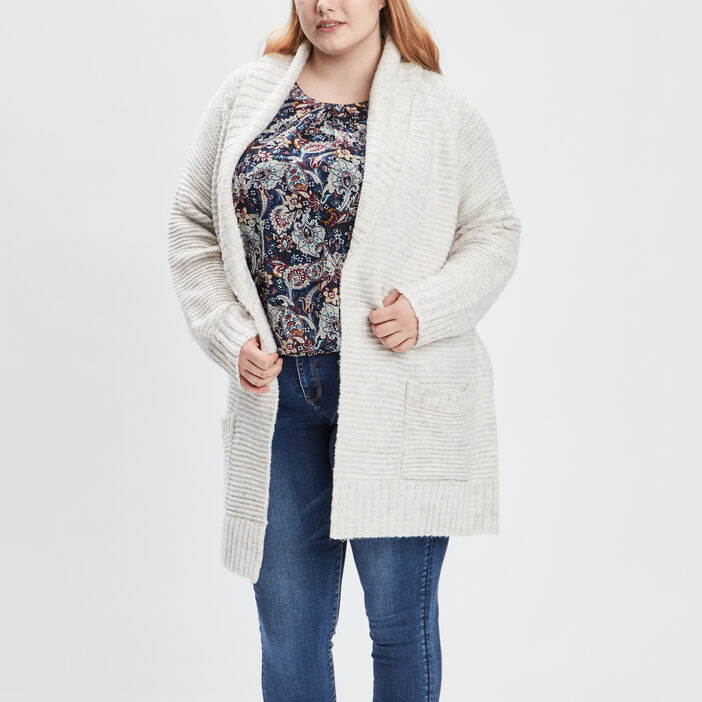 Gilet ceinturé grande taille femme grande taille beige